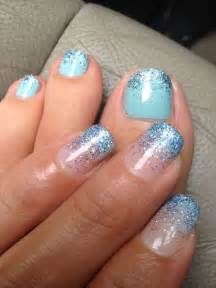 Toe nail designs with glitter blue nails fade
