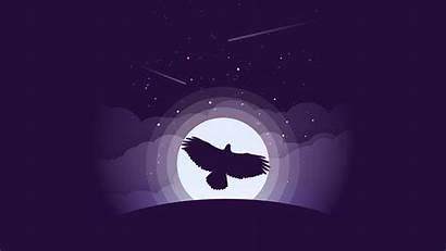 4k Minimal Minimalist Eagle Purple Moon Wallpapers