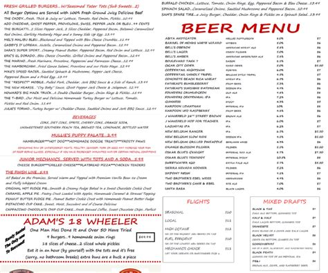 the burger garage menu menu for the filling station garage bar 3200 ne 12th ave