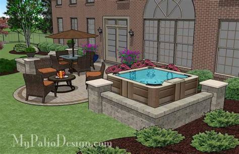 Patios With Tubs tub patio design with seat walls plan