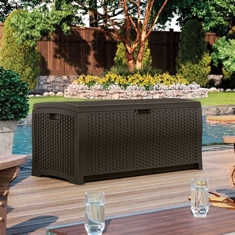 suncast resin 99 gallon deck box dbw9200 suncast dbw9200 mocha wicker 99 gallon
