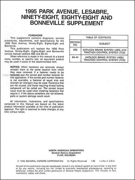 book repair manual 1997 buick lesabre engine control 1995 shop service manual set for bonneville 88 98 lesabre park avenue gm
