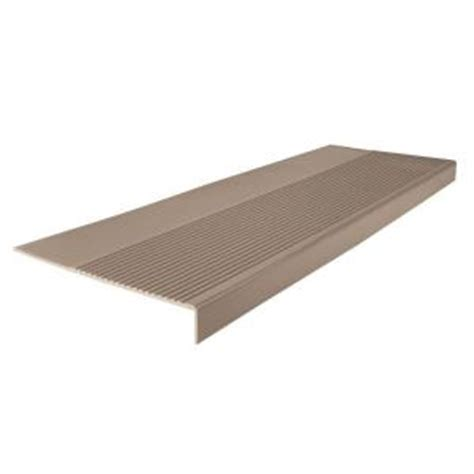 vinyl stair treads home depot roppe ribbed profile sandstone 12 1 4 in x 48 in square nose stair tread 48803p171 the home