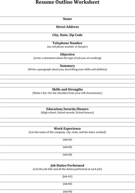 Resume Outline by Resume Outline For Free Formtemplate