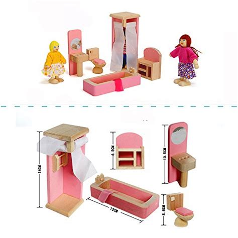 dollhouse kitchen accessories wood family doll dollhouse furniture set pink miniature 3420