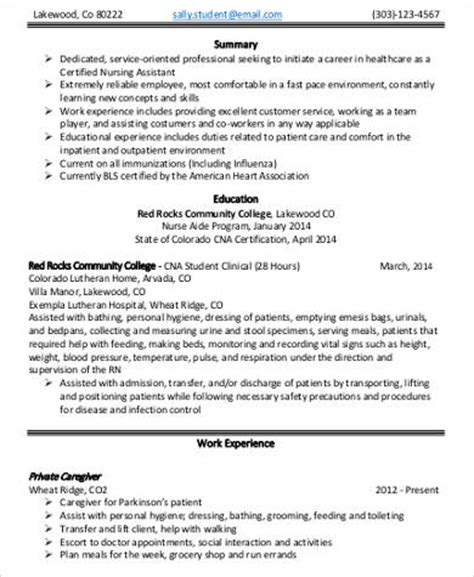 Entry Level Stna Resume by Sle Nursing Assistant Resume 8 Exles In Word Pdf