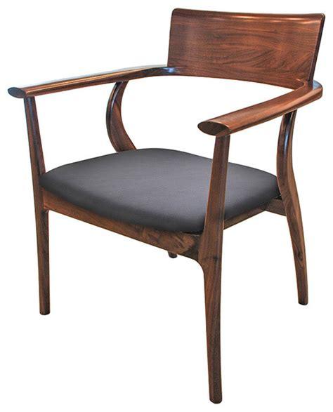 alfie mid century modern walnut black leather dining arm