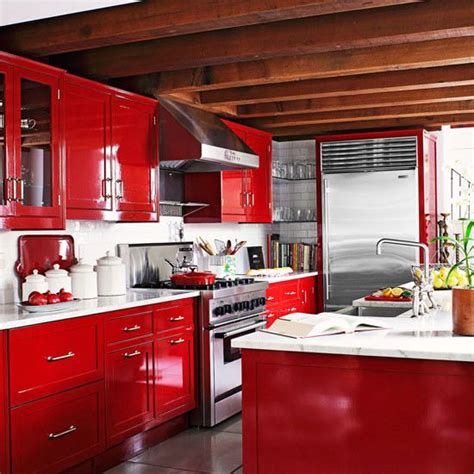 Warm Color Schemes  Red Cabinets, Carrara Marble And Red