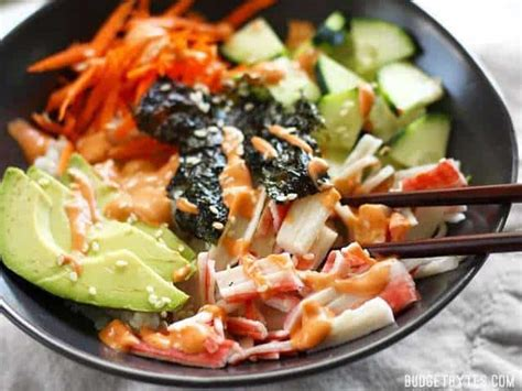 sushi bowls  sriracha mayo budget bytes