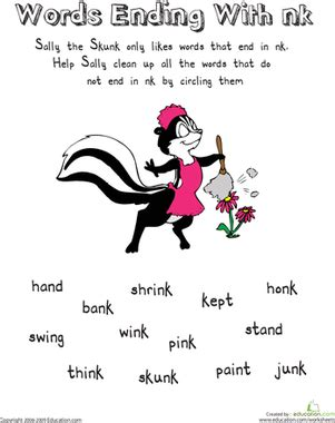 sally the skunk words ending with nk worksheet education com
