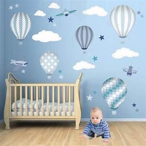 Hot air balloons jets nursery wall art modern