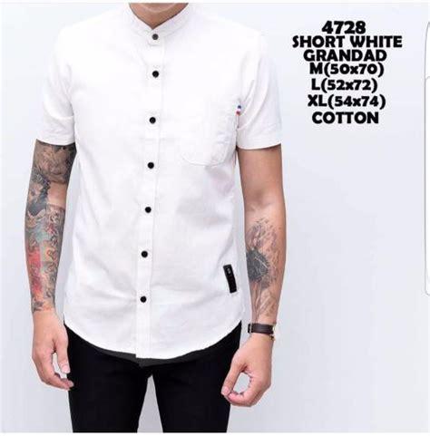 jual beli baju kemeja pria kemeja lengan pendek putih