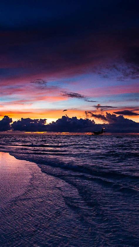 sunset nature maldives wallpaper