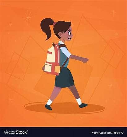 Clipart Walk Walking Highschool African American Pupil