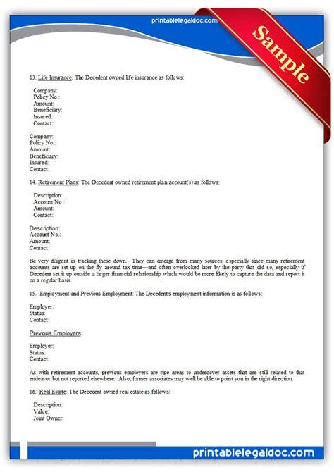 printable checklist    executor form generic