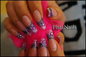 Aquatic floral style nail art design from