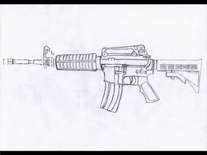 How to draw M4A1 carbine STEP BY STEP (HD) - YouTube | Art ...