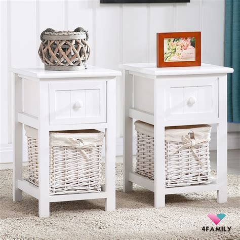 Nightstand Storage by Pair Of Retro White Chic Nightstand End Side Bedside Table