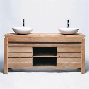 Plan Vasque Bois Brut : meuble de salle de bain une porte en teck brut massif pouvant recevoir vasque et un plan long ~ Teatrodelosmanantiales.com Idées de Décoration