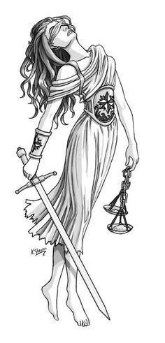 My shoulder tattoo of Lady Justice, also Greek goddess Dike. The personification of justice