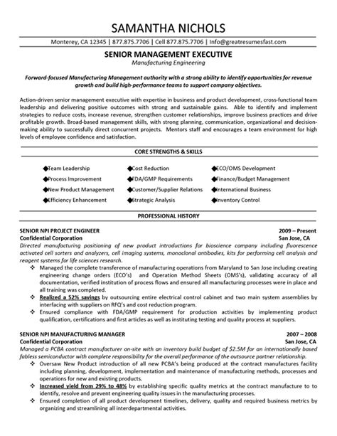 resume objectives for manufacturing senior management executive manufacturing engineering