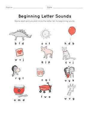 beginning letter sounds worksheet educationcom