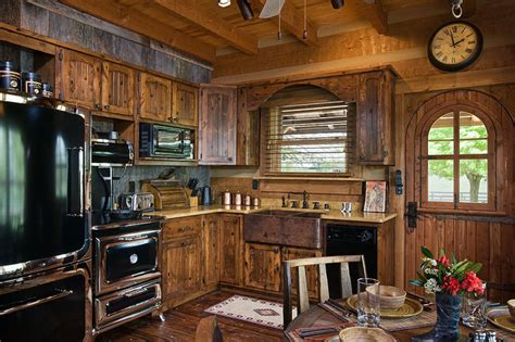 the kitchen cabinet lighting log home with barn wood and western decor traditional 8710