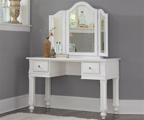 Lakehouse White Finish Vanity Desk With Mirror Desks Ne