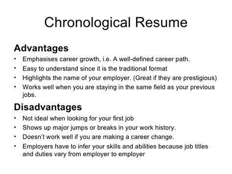 Chronological Resume Advantages And Disadvantages advantages and disadvantages of a chronological resume