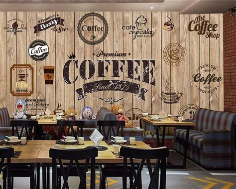 beibehang custom wallpaper wood shading retro coffee shop