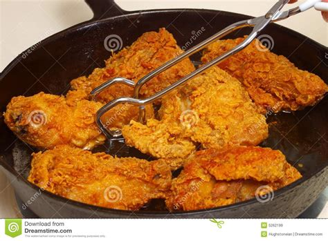 chicken fried cooking frying pan royalty skillet closeup pieces iron cast preview