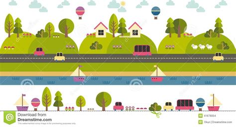 country cottage house plans modern template with flat eco landscape illustration stock