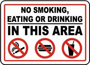 No Smoking Eating Drinking In Area Sign D5727 - by ...