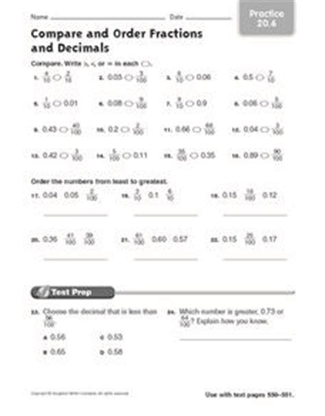 compare and order fractions and decimals practice 20 6 worksheet for 5th grade lesson planet