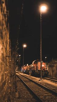 Free Images : track, night, railway, mode of transport ...