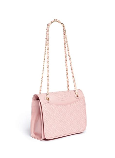 tory burch fleming medium quilted leather bag  pink lyst
