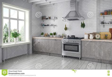 cuisine en kit ikea 3d scandinavian flat royalty free stock image