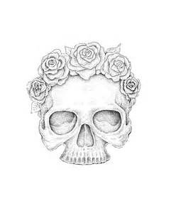 Skulls with Roses Outline Drawings