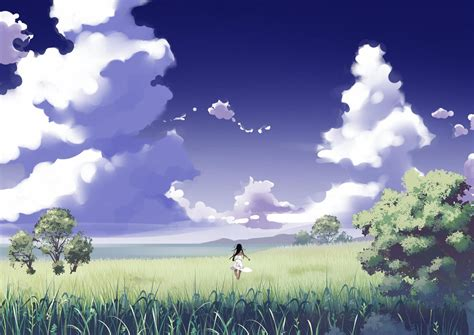 Anime Nature Wallpaper - anime nature clouds wallpapers hd desktop and mobile