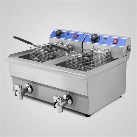 fryer deep commercial electric countertop 20l basket fry drain chip tabletop steel frying french cooker thermostat fat fish stainless 8000w