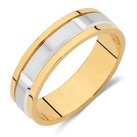 mens wedding band  ct yellow white gold