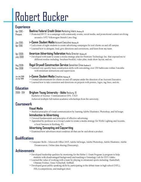 Resume Layout Exle by Resume Layout Resume Cv