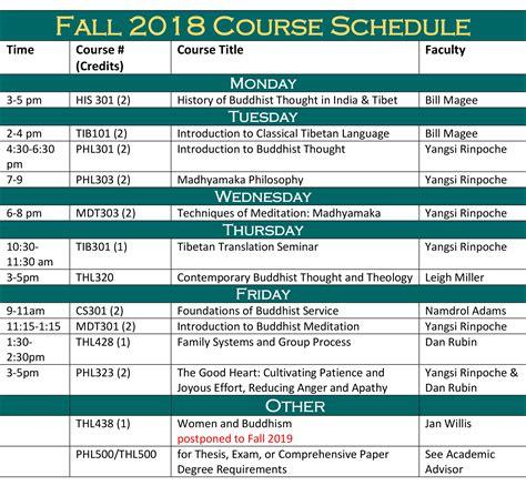 fall   schedule maitripa college