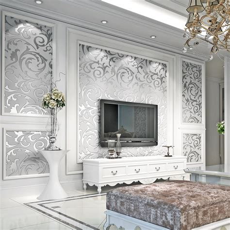 Luxury Damask Gold Silver Wallpaper For Walls 3 D Non