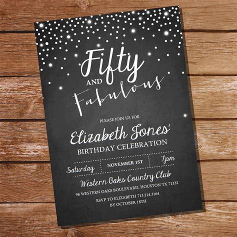fifty  fabulous chalkboard birthday invitation