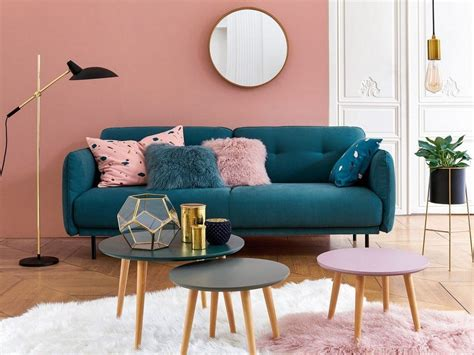 des idees pour  salon en bleu  rose joli place