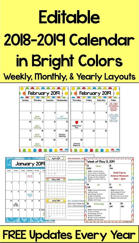 editable calendar bright colors home schooling kids