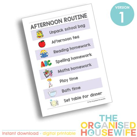 kids routine charts afternoon  organised housewife shop