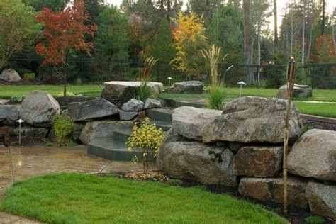 landscape with boulders boulder landscape wall retaining and landscape wall copper creek landscaping mead wa in my