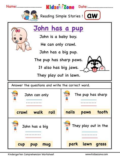 kindergarten worksheets aw word family comprehension